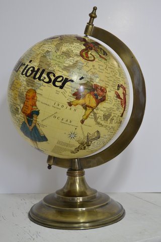 Alice In Wonderland Redecorated Large Contemporary Globe  –  Alice's Adventures Travel World Globe  –  Fantasy  –  Whimsical  –  Vintage Decor