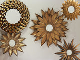 Large Sunflower Mirror - Antique Gold Metal Mirror - Hollywood Regency - Starburst Mirror