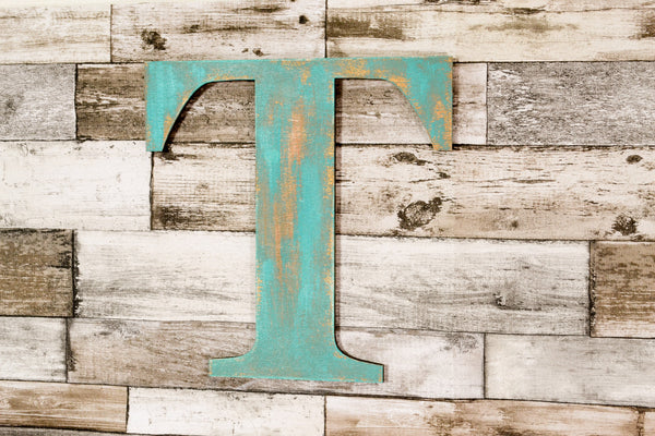 TEA or EAT Sign, Faux Metal Style Wooden Letters