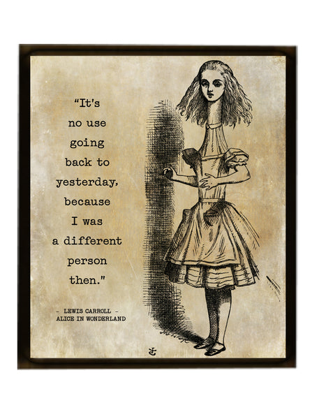 Alice In Wonderland Quote Print, Vintage Alice Print