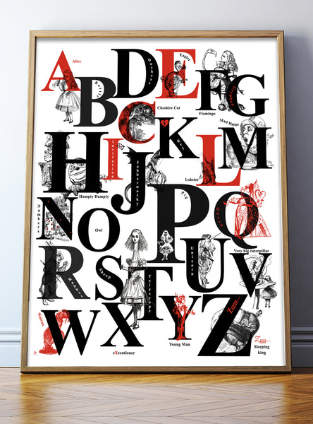 Alice In Wonderland Print – Alphabet Print B&W