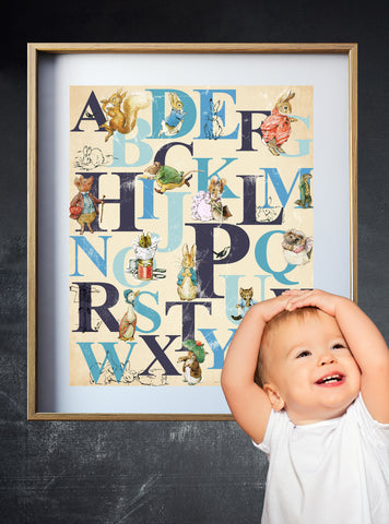 Peter Rabbit Alphabet Print, Beatrix Potter Nursery Art, English Alphabet
