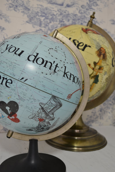 Alice In Wonderland Decor – Redecorated Large Contemporary Globe – Alice's Adventures Travel World Globe – Fantasy – Whimsical – Vintage Decor