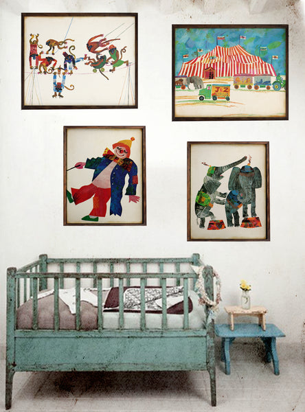 Vintage Circus Print, Clown print, Circus Nursery Wall Hanging Set of four prints, Dumbo Circus Print