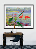 Flamingo Print: Flamingo Bay Vintage Paint By Numbers Print