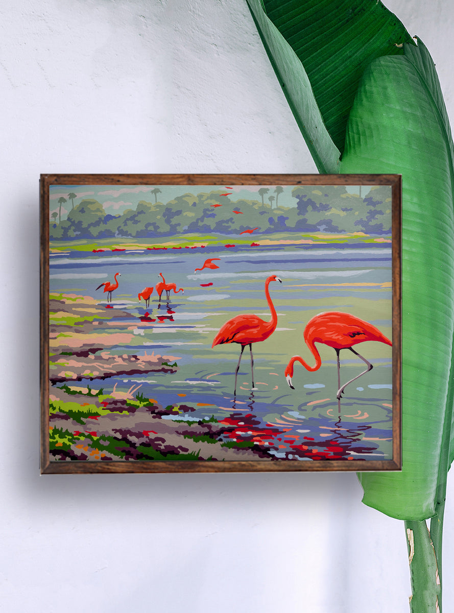 Flamingo Print Flamingo Bay Vintage Paint By Numbers