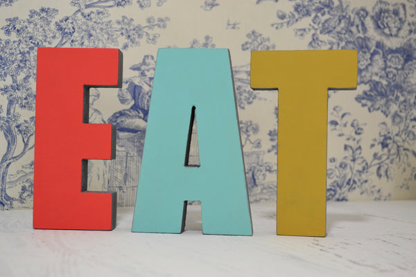 EAT : Bright and Bold Colour 3D Wooden Letters for Home and Kitchen