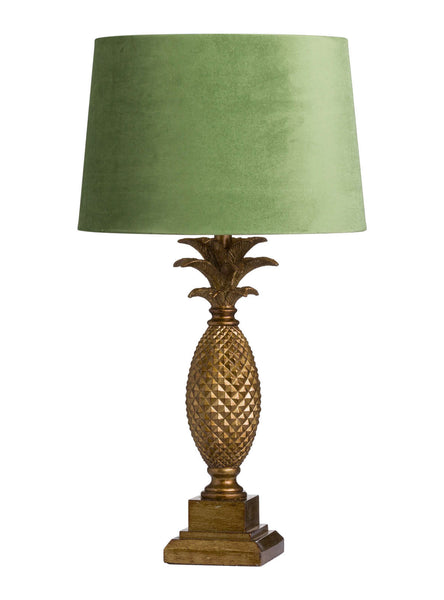Pineapple Table Lamp with Green Shade - Mid Century Table Lamp