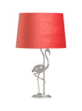 Flamingo Table lamp – Antique Silver Flamingo Lamp  – Coral Velvet Shade  – Table Lamp