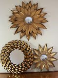 Sunflower Mirror - Gold Metal Sun Mirror - Convex Glass Mirror