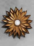 Sunflower Mirror, Antique Gold Metal Mirror, Hollywood Regency, Starburst Mirror