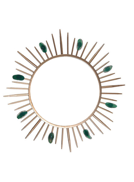 Agate Mirror - Mirror With Green Agate Stone - Sunburst Wall Mirror