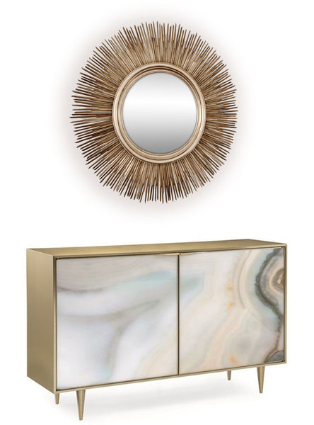 Large Sun Mirror, Champagne Silver Colour Starburst Mirror