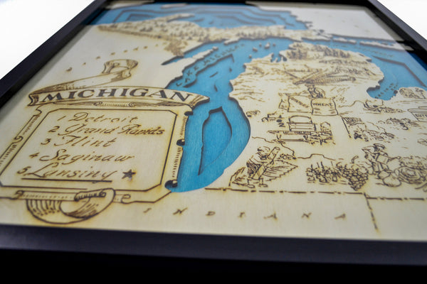 Topographic Wood Map Laser Engraved : Michigan