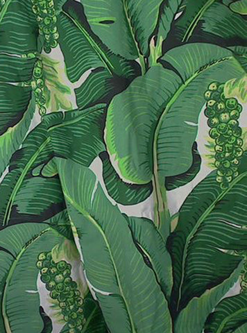 Dorothy Draper Brazilliance Banana Leaves Wallpaper - Tropical Print with Bananas and Grape Vines Print