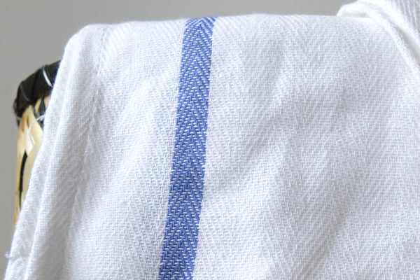 Cotton Hand Towel, Traditional Tea Towel, Napkin, Ethnic White & Blue Stripe,100% Cotton Set of 10