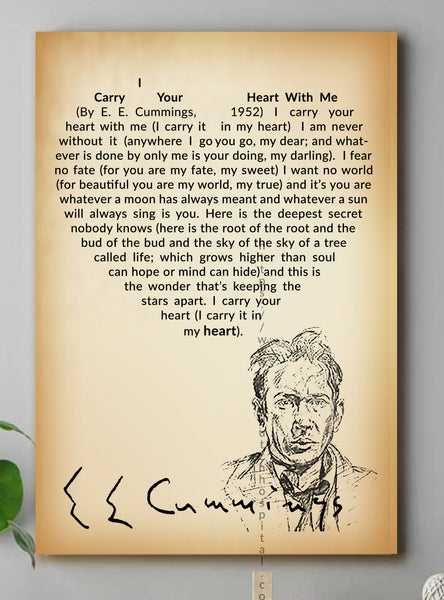 I Carry Your Heart With Me Poem CANVAS WALL ART— Poems By E. E. Cummings — Love Poem — Heart