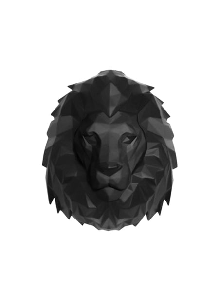 Lion Wall Head - Large Black Wall Head Animal Lion