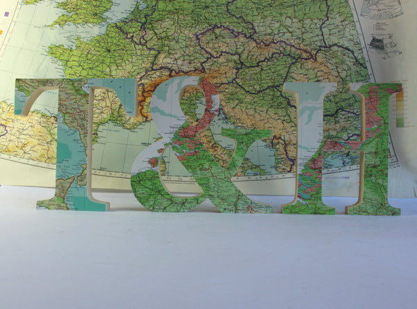 Custom Location Map Letters, Wedding Table Centrepiece, Travel Theme Wedding
