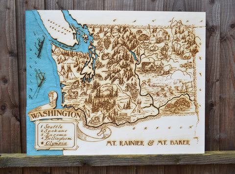 Personalised Wedding Map, Travel Wedding Gift, Washington Topographic Wood Map Chart