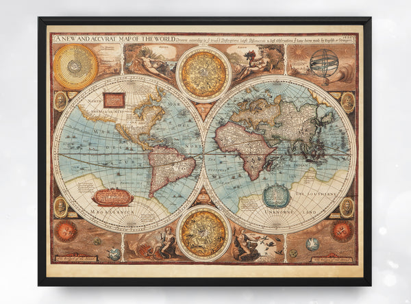 Vintage Map of the World, Antique Map Print