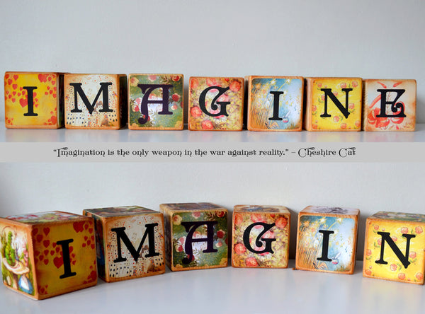 IMAGINE Alice In Wonderland Classic Vintage Wooden Blocks set of 7