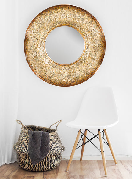 Gold Metal MirroR -  Lace Effect Mirror - Large Round Mirror