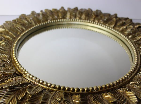 Layered Feathered Mirror – Sunflower Mirror –  Antique Gold Leaf Mirror – Decorative Bathroom Mirror