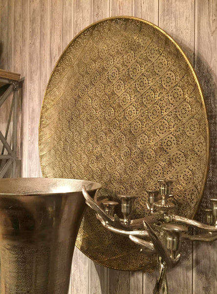 Decorative Wall Plaque Antique Gold  – Large Wall Disc  – Round Lace Patterned Metallic Accents