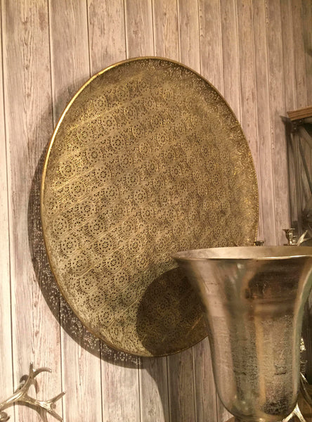 Decorative Wall Disk Antique Gold  – Large Wall Disc  – Round Lace Patterned Metallic Accents