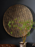 Decorative Wall Plaque Antique Gold, Large Wall Disc, Round Lace Patterned Metallic Accents
