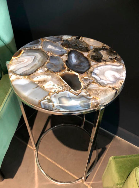Agate Table, Natural Agate Round Side Table, Semi-Precious Stone Furniture