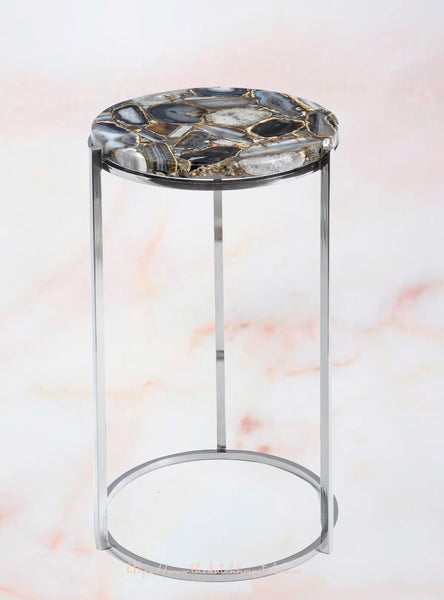 Agate Table, Natural Agate Round Side Table - Semi Precious Stone Furniture
