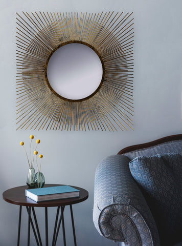Spiky Mirror, Square Starburst Mirror, Brushed Gold Square Starburst Mirror, Antique Gold Wall Mirror