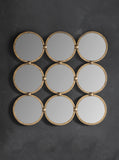 Hand gilded gold wall mirror –  Large Nine Circle Wall Mirror Gold Leaf