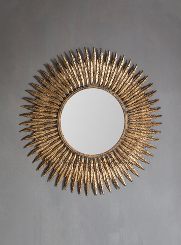 Feathers Mirror, Starburst Wall Mirror, Metallic Sunburst Mirror, Starburst Mirror
