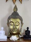 Large Gold Buddha Head -  Buddha Statue - Decorative Buddha Head Ornament