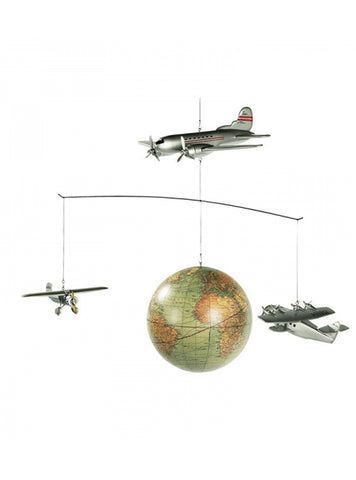 Explore the world Plane Mobile Vintage plane go around the world - Aeroplane Nursery Decor Flight Mobile