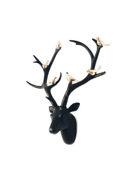Black Stag Head – Golden Bird Deer Head –  Animal Wall Decor