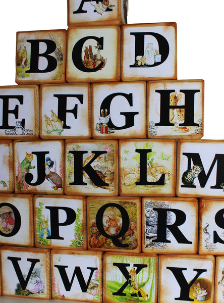 Peter Rabbit  Beatrix Potter Wooden  Alphabet Story Blocks –  A to Z Alphabet Baby Blocks