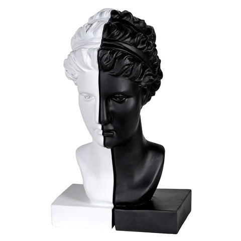 Bookstand: White and Black Female Bust Bookends