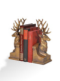 Stag Head Bookends – Vintage Golden Stag –  Antique Gold Bookends