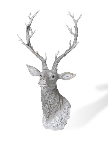 Animal Sculpture –  Free Standing Large grey and white deer head – Stag