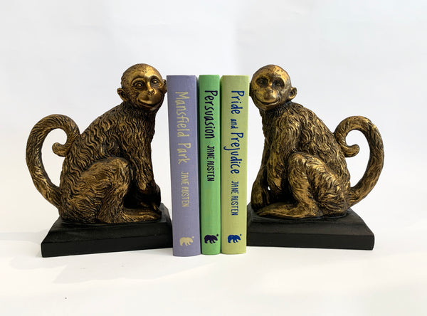 Monkey Bookends – Antique Gold Bookends