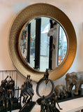 Gold Hammered Rim Round Wall Mirror  – Bronze Mirror – Scooped Wall Mirror