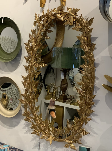 Oval Mirror – Butterfly Wall Mirror – Golden Butterfly Wall Decor