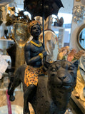 Indian Man Figure – Black Turban man on leopard Sculpture