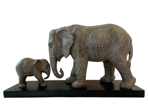 Elephant & baby Grey Statue – Large elephant family