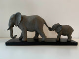 Elephant Mother & baby holding tail – Medium Size