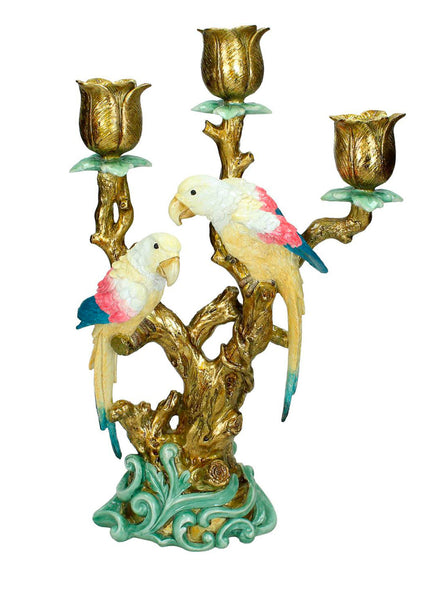 Parrot Birds Candlestick – Candle Holder Tropical Bird Paradise